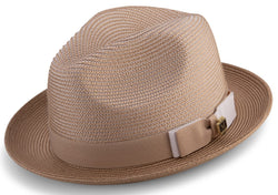 Tan Men's Two Tone Braided Pinch Fedora with Grosgrain Ribbon