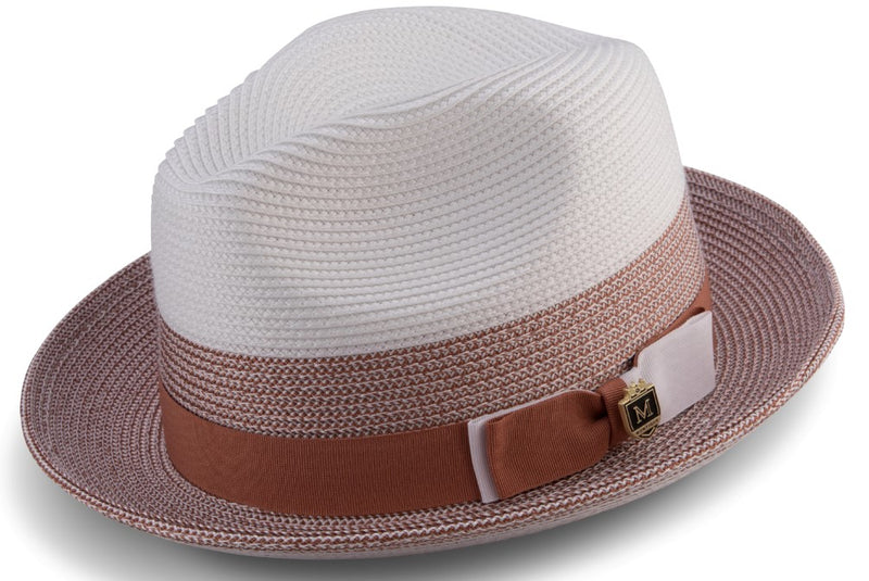 Men's Straw Fedora Two Tone Weave in Cognac
