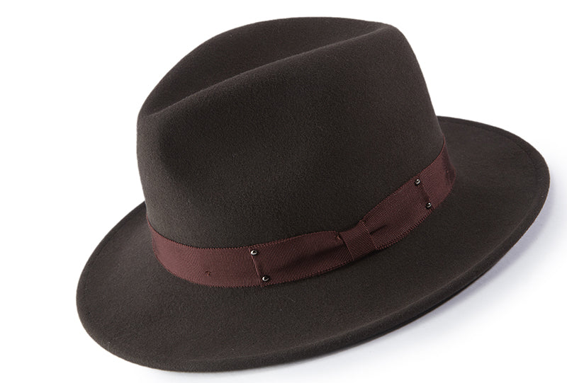 Brown Wool Felt Dress Hat - SUITS FOR MENS