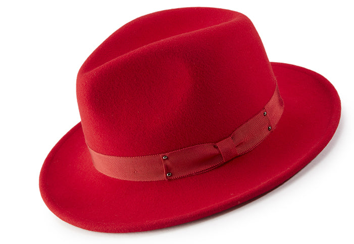 Red Wool Felt Dress Hat - SUITS FOR MENS