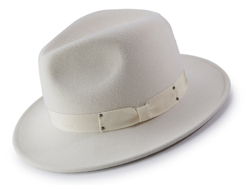 White Wool Felt Dress Hat - SUITS FOR MENS