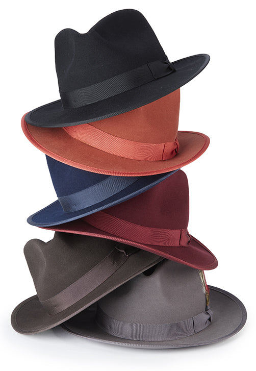 Burgundy Dress Hat Wool Felt Wide Brim - SUITS FOR MENS