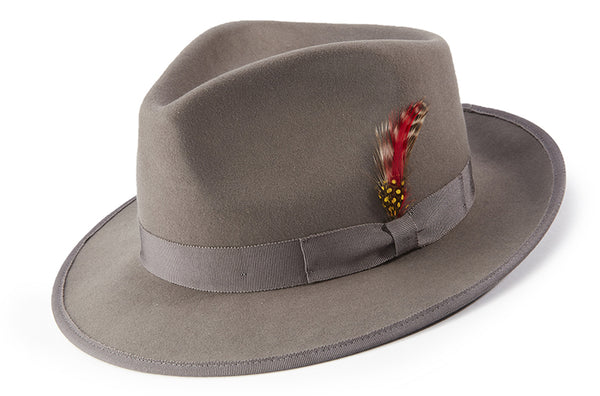 Gray Dress Hat Wool Felt Wide Brim - SUITS FOR MENS