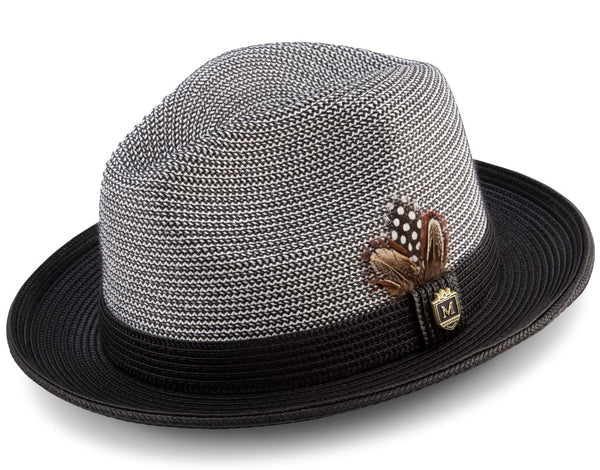 Black Braided Two Tone Stingy Brim Pinch Fedora Hat