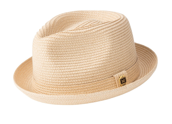Braided Short Brim Teardrop Dent Pinch Hat in Beige