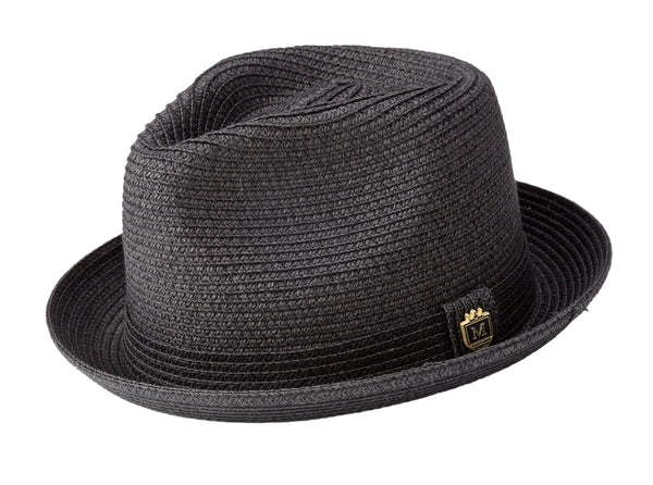 Braided Short Brim Teardrop Dent Pinch Hat in Black - SUITS FOR MENS