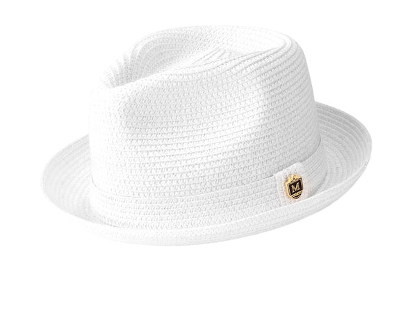Braided Short Brim Teardrop Dent Pinch Hat in White