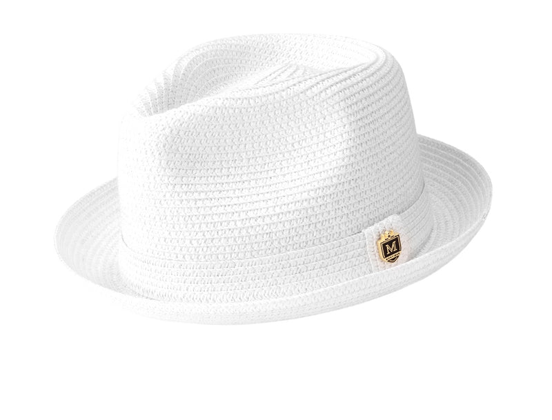 Braided Short Brim Teardrop Dent Pinch Hat in White - SUITS FOR MENS