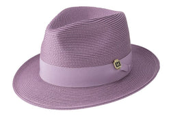 Lavender Braided Wide Brim Pinch Fedora Matching Grosgrain Ribbon Hat - SUITS FOR MENS