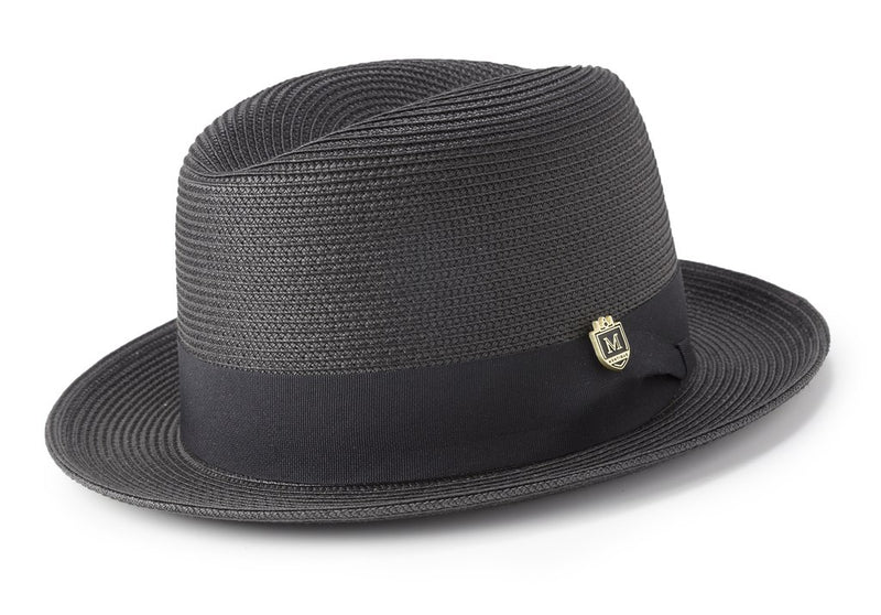 Braided Center Crease Fedora in Black - SUITS FOR MENS