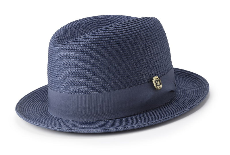 Braided Center Crease Fedora in Dark Blue