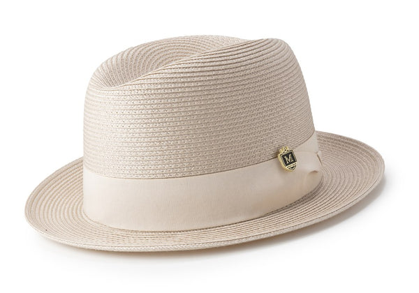 Braided Center Crease Fedora in Tan - SUITS FOR MENS