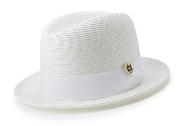 Braided Center Crease Fedora in White - SUITS FOR MENS
