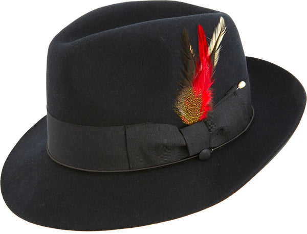 Fedora Pinch Front with Feather Accent in Black - SUITS FOR MENS