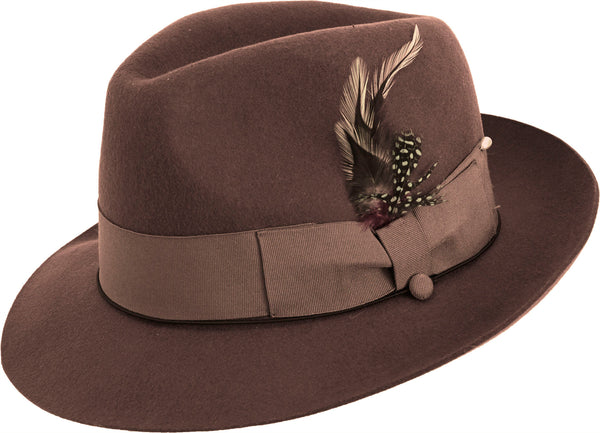 Fedora Pinch Front with Feather Accent in Brown - SUITS FOR MENS