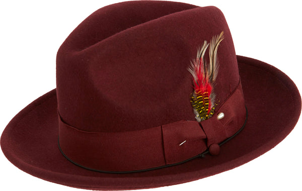 Pinch Fedora with Feather Accent in Burgundy