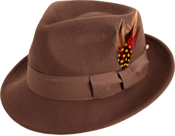 Bogart Hat with Feather Accent in Brown - SUITS FOR MENS