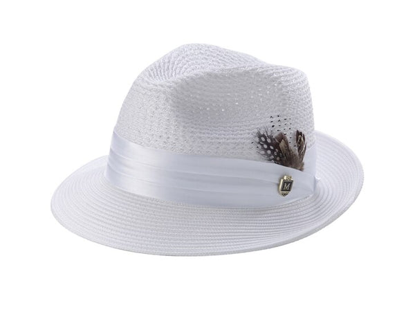 White Solid Color Pinch Braided Fedora With Matching Satin Ribbon - SUITS FOR MENS