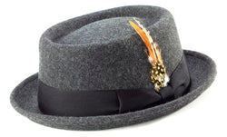 Wool Felt Stingy Brim Pork Pie Fedora in Charcoal - SUITS FOR MENS