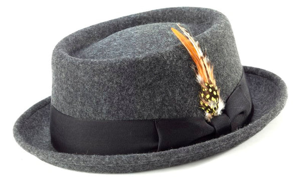 100% Wool Stingy Brim Pork Pie Fedora in Charcoal - SUITS FOR MENS