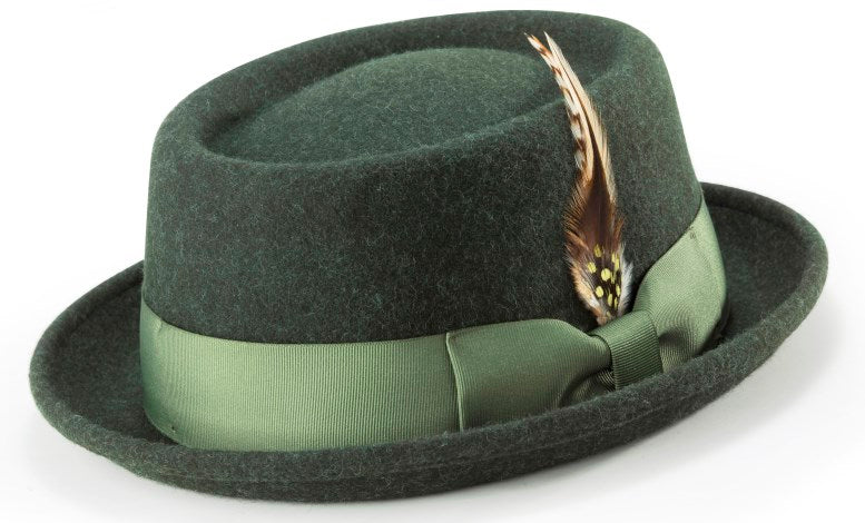 5deb0613498b 100% Wool Stingy Brim Pork Pie Fedora in Hunter Green - SUITS FOR MENS