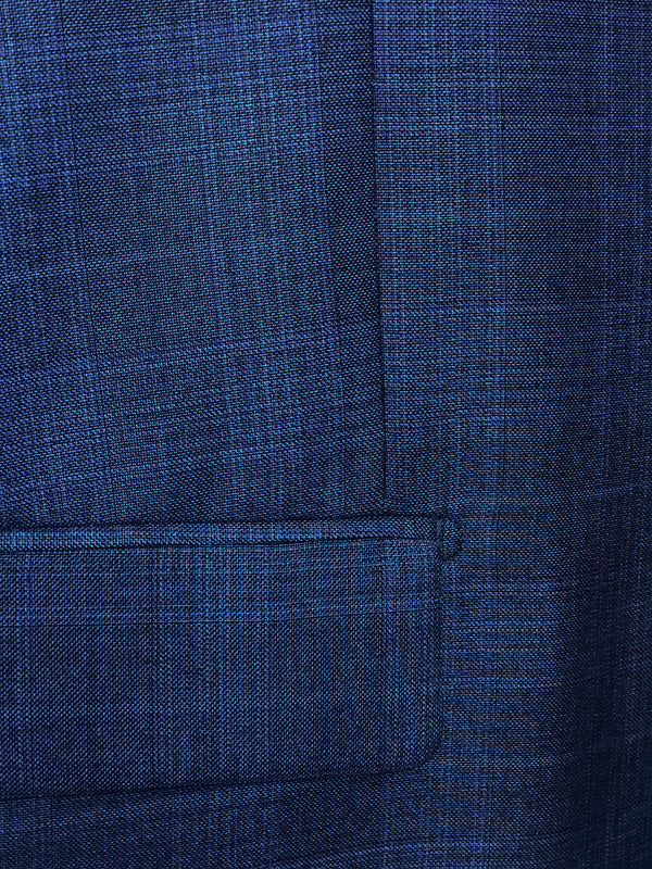 Pompey Collection - Men's Glen Plaid Dress Suit 2 Piece Regular Fit in Blue