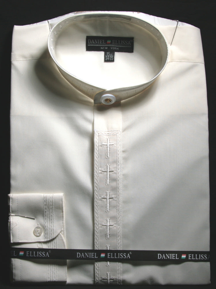 Men's Banded Collar Embroidered Shirt in Ivory - SUITS OUTLETS