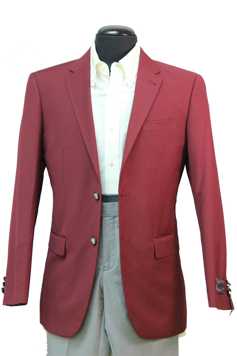 Wool Blend Regular Fit Single Breasted Burgundy Jacket