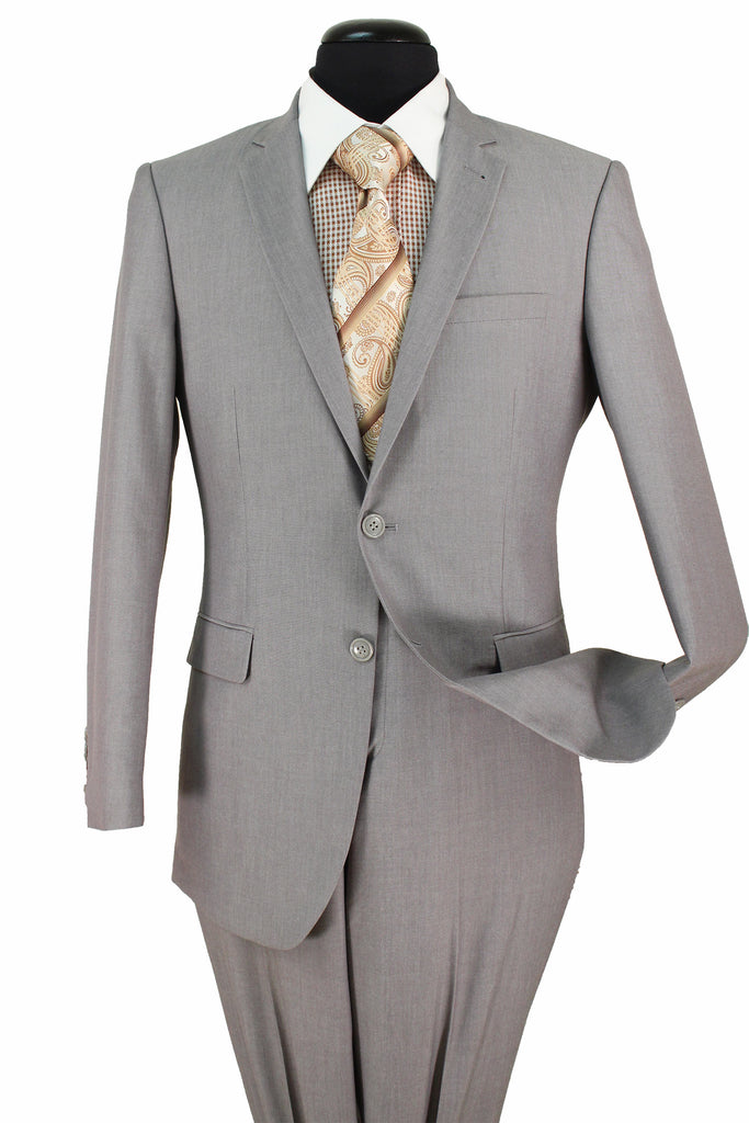 Ultra Slim Fit Suit 2 Pieces 2 Buttons Light Gray - Mens Suits