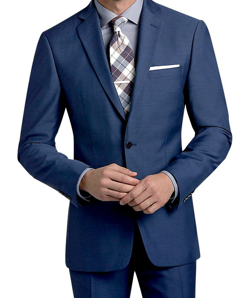 Slim Fit Suit Year Round Style 2 Piece 2 Buttons French Blue - Mens Suits
