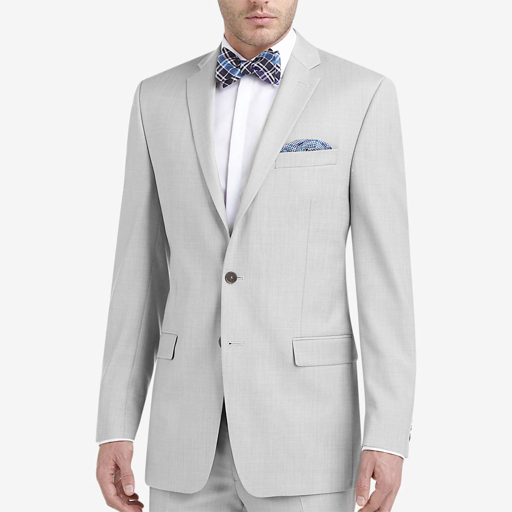 Slim Fit Fashion Suit Year Round Style 2 Pieces 2 Buttons Light Gray - SUITS OUTLETS