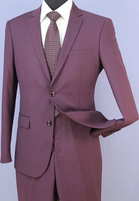 Stilo Collection - Slim Fit Suit Year Round Style 2 Piece 2 Button Purple