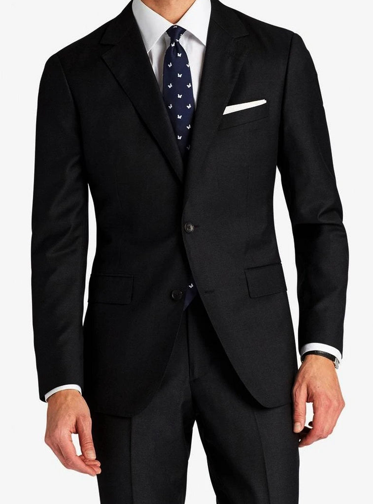 Slim Fit Suit Year Round Style 2 Piece 2 Button Black - Mens Suits