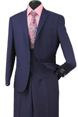 Slim Fit 3 Piece Suit 2 Button Single Breast in Midnight Blue