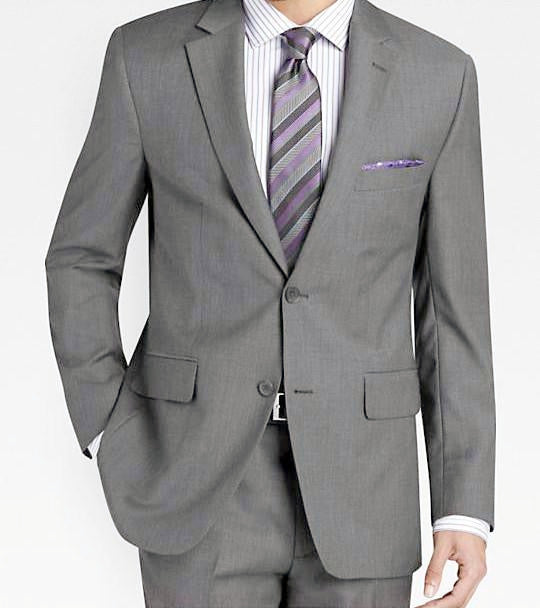 Regular Fit Suit 2 Piece 2 Button in Medium Gray - SUITS FOR MENS