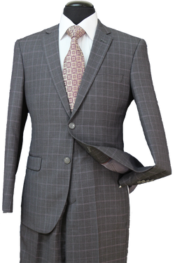 Charcoal Check Premium Wool Blend Slim Fit Suit 2 Piece - SUITS FOR MENS