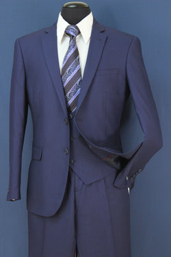 Business Suit Slim Fit 3 Piece in Blue Tone On Tone - SUITS FOR MENS