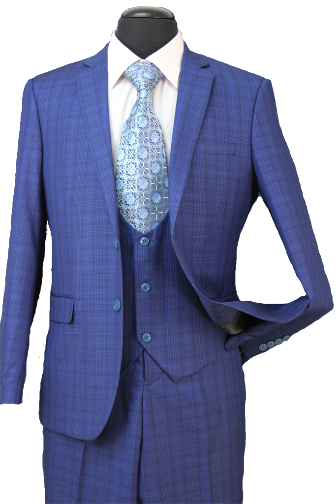Premium Wool Blend Suit Slim Fit 3 Piece 2 Button in French Blue Check