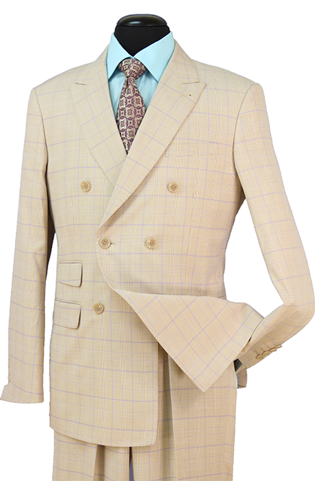 Beige Check Double Breasted Premium Wool Blend Suit Peak Lapel - SUITS FOR MENS