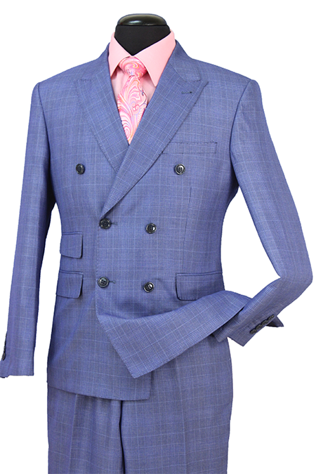 Blue Check Double Breasted Premium Wool Blend Suit Peak Lapel - SUITS FOR MENS