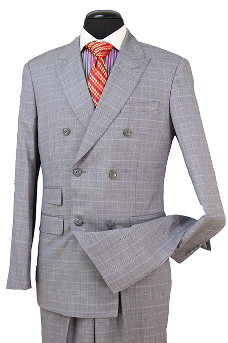Gray Check Double Breasted Premium Wool Blend Suit Peak Lapel - SUITS FOR MENS