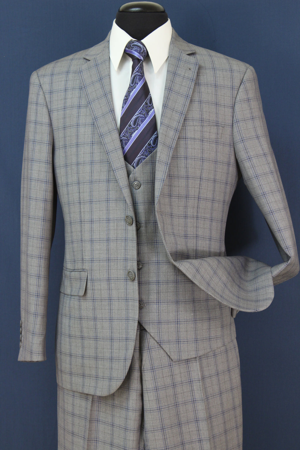 Premium Wool Blend Regular Fit 3 Pieces Single Breast 2 Buttons Gray Check - SUITS OUTLETS
