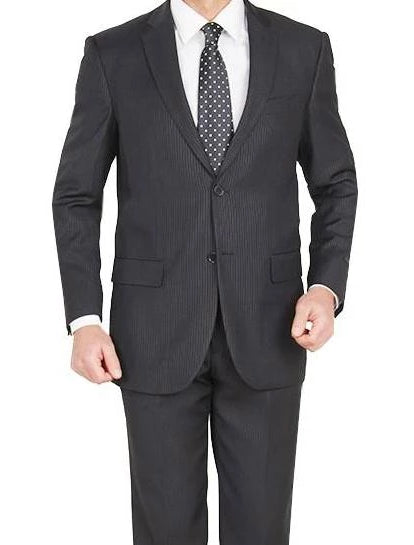 Modern Fit Pinstripe Suit 2 Buttons 2 Pieces Black - SUITS OUTLETS
