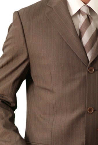 Regular Fit Suit Tone On Tone Stripe Design in Dark Cocoa 2 Pieces - Mens Suits