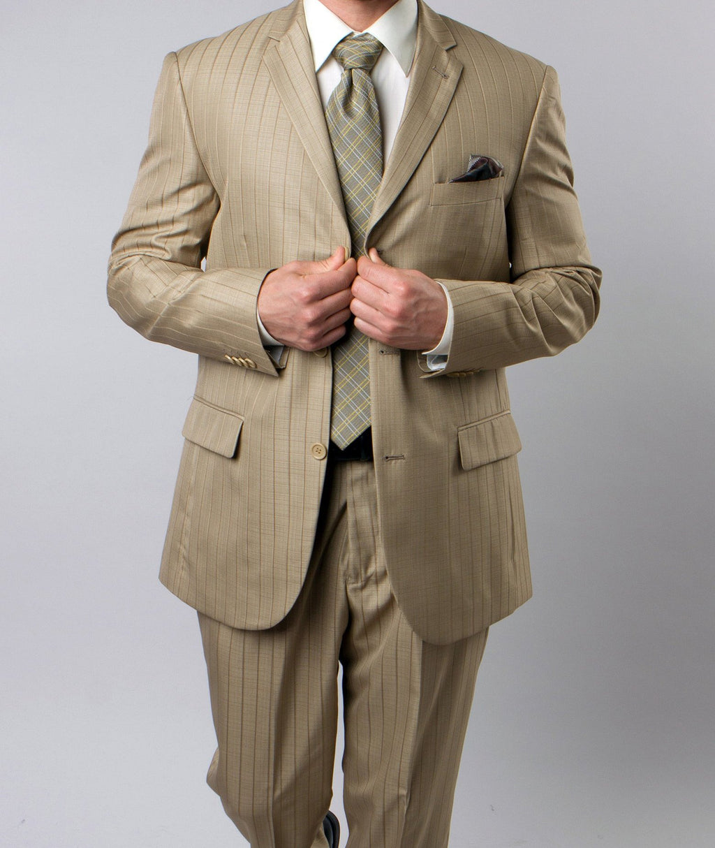Regular Fit Suit Tone On Tone Stripe Design in New Gold 2 Pieces - SUITS OUTLETS