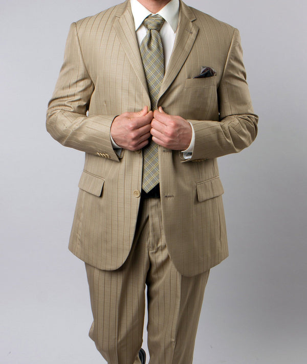 Regular Fit Suit Tone On Tone Stripe Design in New Gold 2 Pieces - Mens Suits