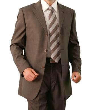 Regular Fit 2 Piece Suit Tone On Tone Stripe in Dark Cocoa - SUITS FOR MENS