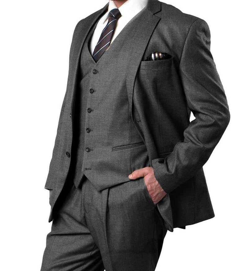 L'Homme Regular Fit Suit 3 Piece With 6 Buttoned Vest in Charcoal - SUITS FOR MENS