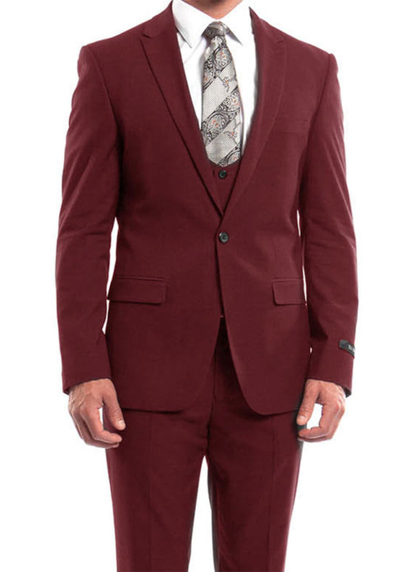 Cherry Red Solid Color 3 Piece Slim Fit Suit 1 Button Peak Lapel