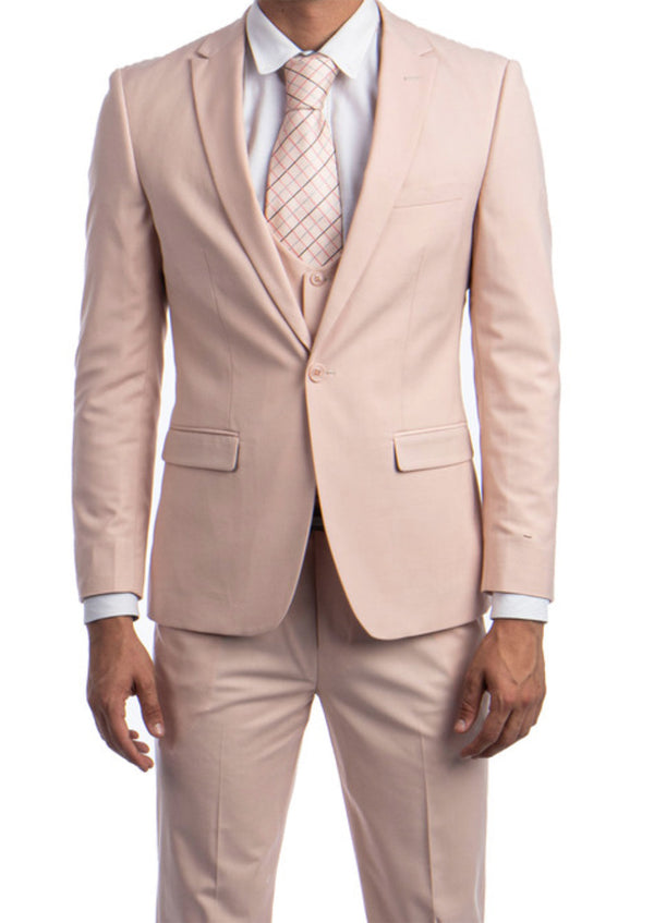 Blush Solid Color 3 Piece Slim Fit Suit 1 Button Peak Lapel
